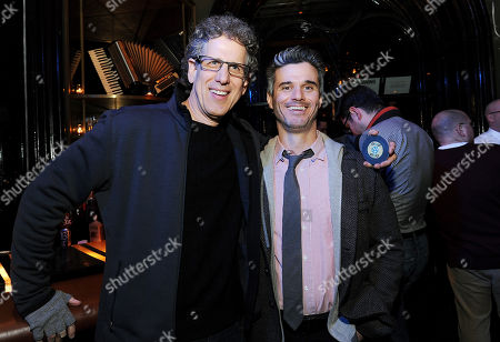"""IMAGE DISTRIBUTED FOR PIVOT - Participant Media, Jim Berk, left, and President of Pivot, Evan Shapiro, attend Pivot's live taping of """"Freestyle Love Supreme"""" at Joe's Pub on in New York. The show will air Saturday, March 8th, 2014 at 10pm ET on Pivot"""