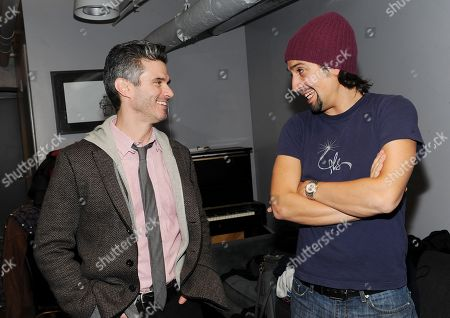 """IMAGE DISTRIBUTED FOR PIVOT - President of Pivot Evan Shapiro, left, and performer Lin-Manuel Miranda chat backstage before Pivot's live taping of """"Freestyle Love Supreme"""" at Joe's Pub on in New York. The show will air Saturday, March 8th, 2014 at 10pm ET on Pivot"""