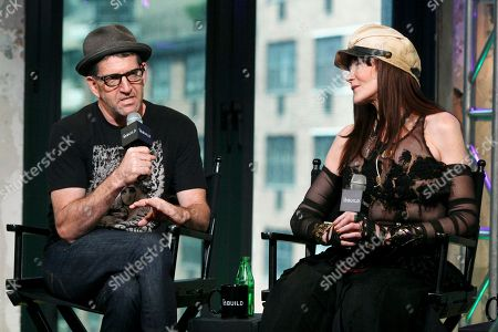 """Stock Picture of Director Jeff Feuerzeig, left, and author Laura Albert, right, participate in AOL's BUILD Speaker Series to discuss the film """"The JT Leroy Storyâ?? at AOL Studios, in New York"""