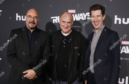 Stock Image of Joel Stillerman, COO of Hulu, Jeph Loeb, Executive Producer, and Craig Erwich, SVP, Head of Content at HULU, arrive
