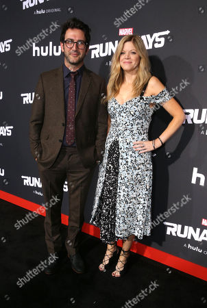Josh Schwartz, Executive Producer, and Stephanie Savage, Executive Producer, arrive