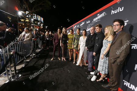 Rhenzy Feliz, Virginia Gardner, Ariela Barer, Allegra Acosta, Lyrica Okano, Jeph Loeb, Extecutive Producer, Gregg Sulkin, Stephanie Savage, Extecutive Producer, and Josh Schwartz, Extecutive Producer, arrive