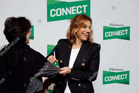 Stock Photo of Entrepreneur and co-founder of LifeShop and SoulCycle, Julie Rice, meets and greets QuickBooks Connect 2017 attendees, in San Jose, Calif