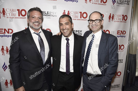 "Michael DeLuca, Sony's Andrew Gumpert and Sony's Doug Belgrad seen at ""Care and Cure Honoring Sony's Doug Belgrad"", in Beverly Hills, Calif"