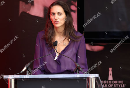 Stock Image of Lisa Immordino Vreeland speaks at the Rodeo Drive Walk of Style plaque unveiling honoring the late fashion editor and icon Diana Vreeland, in Beverly Hills, Calif