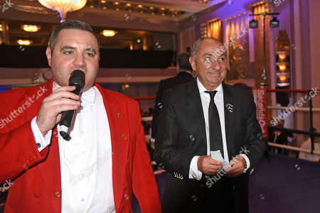 Ex-Tottenham Hotspur footballer Ossie Ardiles draws the raffle winner during a Boxing Show at the Sheraton Grand Park Lane Hotel on 16th November 2017