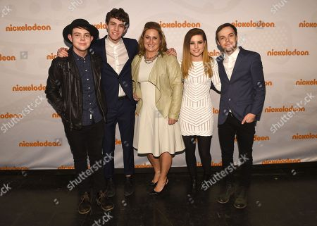 Cyma Zarghami, President of Viacom Kids and Family, center, poses with Echosmith at the 2015 Nickelodeon Upfront at Skylight at Moynihan Station, on in New York