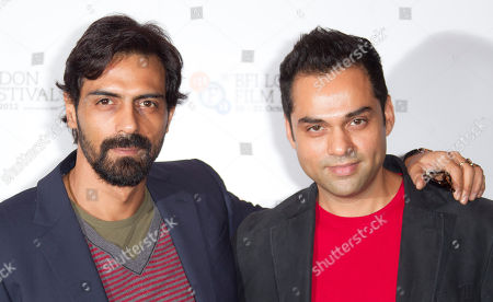 Actors Abhay Deol and Arjun Rampal, left, stand together at a photocall for Prakash Jha's 'Chakravyah' during the London Film Festival at The Empire cinema, Leicester Square on in London, UK
