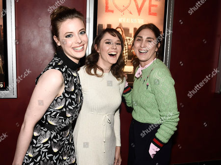 Actress Gillian Jacobs, actress Claudia O'Doherty, and executive producer Lesley Arfin seen at a panel discussion following a Netflix screening of Love Season 1 at the Arclight Cinemas Hollywood, in Los Angeles