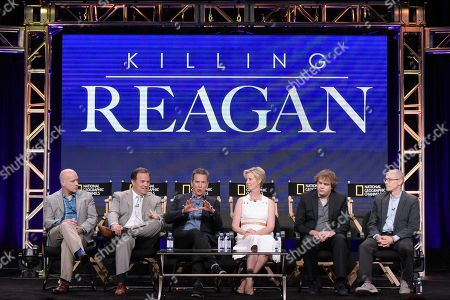 "Eric Simonson, from left, Rod Lurie, Tim Matheson, Cynthia Nixon, Kyle S. More and David Zucker participate in the ""Killing Reagan"" panel during the National Geographic Television Critics Association summer press tour, in Beverly Hills, Calif"