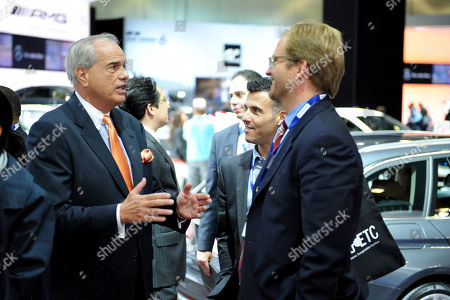 Stock Photo of Mike Rossi, Senior Advisor for Jobs and Business Development for Governor Brown, left, and Matt Petersen, Chief Sustainability Officer, City of LA, attend the CalETC electric vehicles tour at LA Auto Show, on in Los Angeles