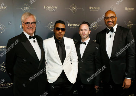 Pictured left to right, 8th generation Hennessy family member Maurice Hennessy, Rapper Nas, contemporary American artist Daniel Arsham and Executive Vice President Spirits of Moët Hennessy USA, Rodney Williams, attend Hennessy 250 Tour and Gala Dinner at Lincoln Center in New York, NY, . To celebrate the brand�s 250th anniversary, the Hennessy 250 Tour will be open to the public July 8-10 and features internationally-recognized artists whose works evoke the brand�s legacy and expertise