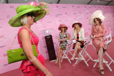 Stock Picture of Tennis legend Stefanie Graf, seated left, Harper's Bazaar editor Joyann King, center, and supermodel Coco Rocha, right, join together to judge the Longines Kentucky Oaks Fashion Contest on Kentucky Oaks Day, in Louisville, Ky.Longines, the Swiss watch manufacturer known for its luxury timepieces, is the Official Watch and Timekeeper of the 139th annual Kentucky Derby.Â