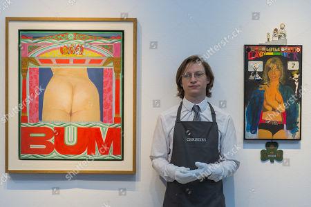 Pauline Boty, BUM, 1966, estimate: £200,000-300,000 and Sir Peter Blake, Little Lady Luck, 1965, estimate: £600,000-800,000