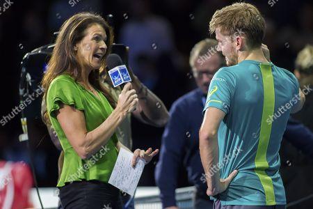 Former British Number one tennis player Annabel Croft interviews  David Goffin (BEL), Nitto ATP World Tour Final, Day Six, O2 Arena, London United Kingdom, 17th November 2017