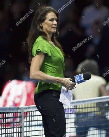 Former British Number one tennis player Annabel Croft prepares to interview David Goffin (BEL), Nitto ATP World Tour Final, Day Six, O2 Arena, London United Kingdom, 17th November 2017