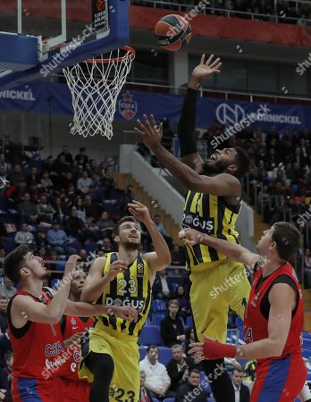 Victor Khryapa (R) and Nando de Colo (L) of CSKA Moscow in action against Jason Thompson (2nd-R) and Marko Guduric (C) of Fenerbahce Dogus during the Euroleague basketball match between CSKA Moscow and Fenerbahce Dogus in Moscow, Russia, 17 November 2017.