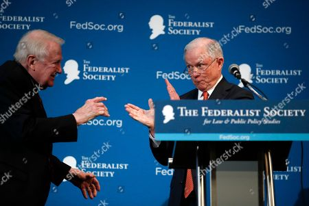 Stock Photo of Jeff Sessions, Edwin Meese III. Attorney General Jeff Sessions acknowledges former Attorney General Edwin Meese III, left, with applause after speaking at the Federalist Society 2017 National Lawyers Convention at the Mayflower Hotel in Washington, about maintaining and strengthening the rule of law