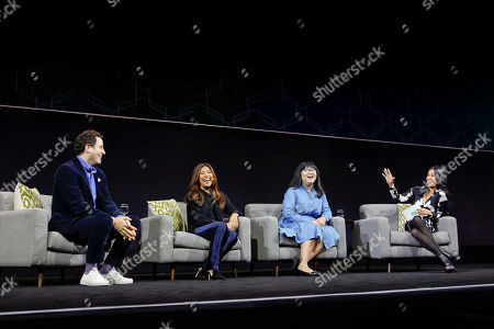 International Journalist, Executive Producer and QuickBooks Connect 2017 moderator, Lisa Ling, right, interviews rising startup founders from left: Randy Goldberg, Jen Rubio and Lisa Fetterman at QuickBooks Connect, in San Jose, Calif