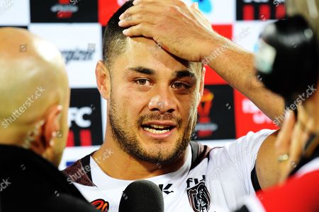 Fiji's Jarryd Hayne after the 2017 Rugby League World Cup quarterfinal match between New Zealand Kiwis and Fiji at Wellington Regional Stadium in Wellington, New Zealand