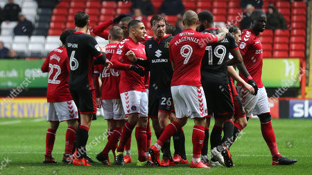 Tempers flare towards the end of the first half after George Williams of MK Dons wrestles Charlton's Rocky Holmes to the ground during Charlton Athletic vs MK Dons, Sky Bet EFL League 1 Football at The Valley on 18th November 2017