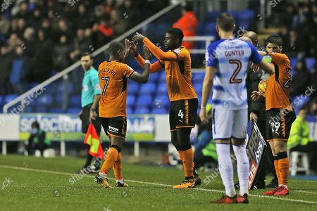 Wolverhampton Ivan Cavaleiro (7) is replaced by   Wolverhampton Alfred N'Diaye (4) during the EFL Sky Bet Championship match between Reading and Wolverhampton Wanderers at the Madejski Stadium, Reading