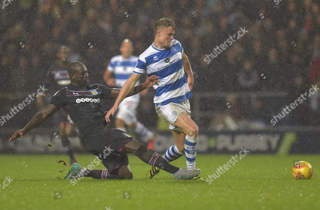Stock Image of Christopher Samba of Aston Villa and Matt Smith of QPR