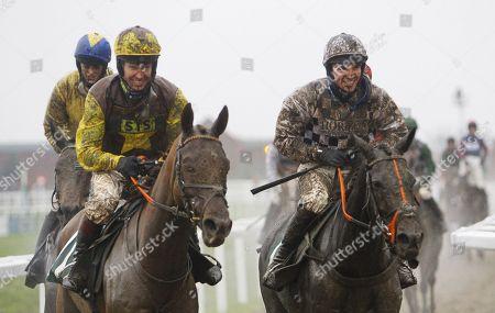 Muddy jockeys Richard Johnson and Jonathan Burke at Cheltenham.