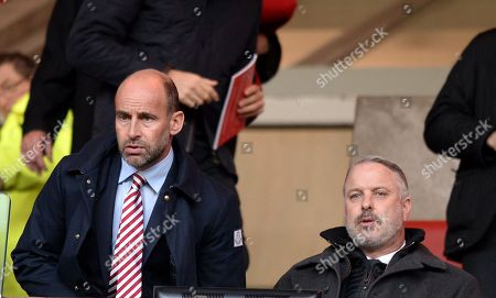 Stock Image of Martin Bain Chief Executive of Sunderland (left) with Kit Symons who is assistant to Chris Coleman and rumoured to take charge of Sunderland, take their seats prior to kick off