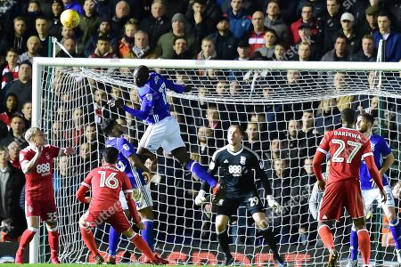 Birmingham City midfielder Cheikh N'Doye (17) heads the ball off the line during the EFL Sky Bet Championship match between Birmingham City and Nottingham Forest at St Andrews, Birmingham