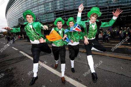 Ireland vs Fiji. Ireland fans Andrew Woodall, Adam Jones, Tom Emmery and David Woodward from Birmingham