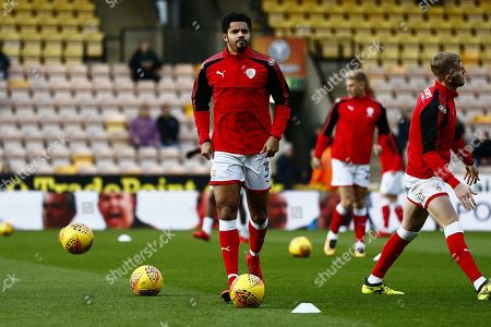 Barnsley defender Zeki Fryers (3) warming up ahead of the EFL Sky Bet Championship match between Norwich City and Barnsley at Carrow Road, Norwich