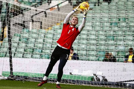 Barnsley goalkeeper Adam Davis (1) warming up ahead of the EFL Sky Bet Championship match between Norwich City and Barnsley at Carrow Road, Norwich