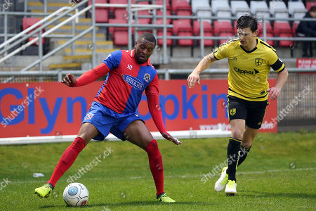 Morgan Ferrier of Dagenham and  Ashley Palmer of Guiseley during Dagenham & Redbridge vs Guiseley, Vanarama National League Football at the Chigwell Construction Stadium on 18th November 2017