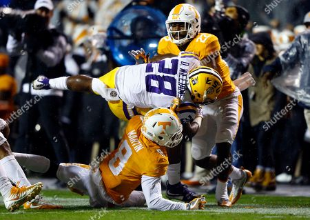 Darrel Williams, Justin Martin, Micah Abernathy. LSU running back Darrel Williams (28) is tackled by Tennessee defensive backs Justin Martin (8) and defensive back Micah Abernathy (22) during the first half of an NCAA college football game, in Knoxville, Tenn