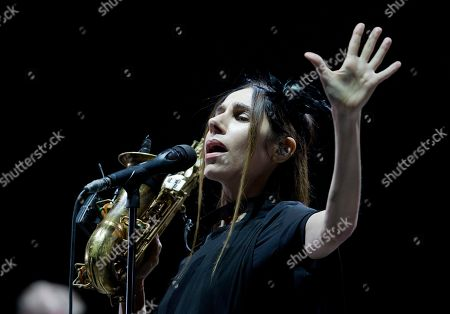 British singer-songwriter PJ Harvey performs during the concert at the Corona Capital music festival in Mexico City