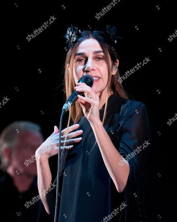 British singer-songwriter PJ Harvey performs during a concert at the Corona Capital music festival in Mexico City