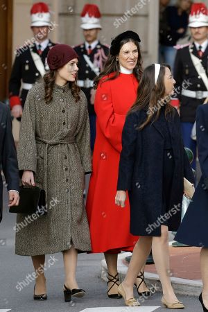 Monaco Princess Charlotte Casiraghi, left and Tatiana Casiraghi, second left, arrive at the Cathedral of Monaco before a mass for the celebrations marking Monaco's National Day at the Monaco Palace
