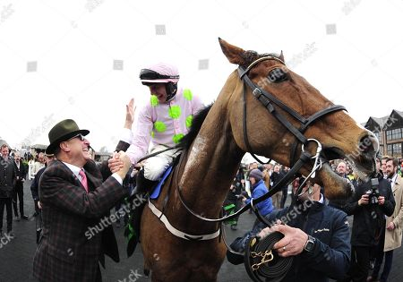 PUNCHESTOWN.The Unibet Morgiana Hurdle. FAUGHEEN and Paul Townend are congratulated by owner RICH RICCI after their win for trainer Willie Mullins.