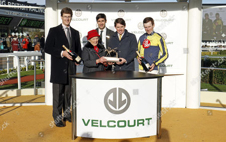 Presentation to Harry Fry, Jason Maguire and Kieron Edgar for The Velcourt Conditional Jockeys Handicap Hurdle Cheltenham