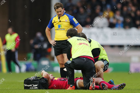Harry Sloan of Harlequins takes an injury during the Aviva Premiership match between Exeter Chiefs and Harlequins at Sandy Park on November 19th 2017 , Exeter, Devon (