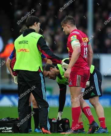 Harry Sloan of Harlequins receives treatment during the Aviva Premiership match between Exeter Chiefs and Harlequins at Sandy Park on November 19th 2017 , Exeter, Devon (