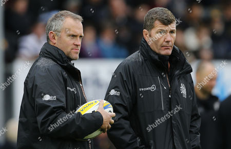 Exeter Chiefs Assistant Coach, Robin Hunter and Exeter Chiefs Director of Rugby, Rob Baxter during the Aviva Premiership match between Exeter Chiefs and Harlequins at Sandy Park on November 19th 2017 , Exeter, Devon (
