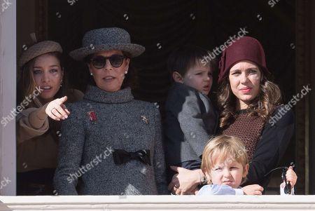 Andrea Casiraghi, Princess Caroline of Hanover, Sacha Casiraghi, Raphael Casiraghi, Charlotte Casiraghi and Tatiana Santo Domingo