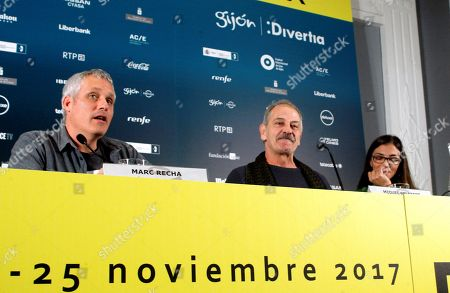 Spanish film director Marc Recha (L) and actors/cast members Miquel Gelabert (C) and Nuria Prims attend the presentation of the film 'La Vida Lliure' during the Gijon International Film Festival (FICX), in Gijon, Asturias, Spain, 19 November 2017. The FICX festival will run from 17 to 25 November.