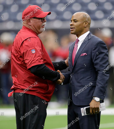 Bruce Arians, Rick Smith. Arizona Cardinals head coach Bruce Arians, left, and Houston Texans general manager Rick Smith, right, before an NFL football game, in Houston