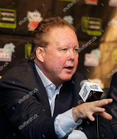 Brian France, NASCAR Chairman and CEO answers a question during a news conference at Homestead-Miami Speedway in Homestead, Fla