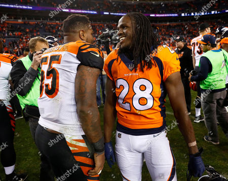 Denver Broncos running back Jamaal Charles (28) and Cincinnati Bengals outside linebacker Vontaze Burfict (55) meet after an NFL football game, in Denver. The Bengals won 20-17