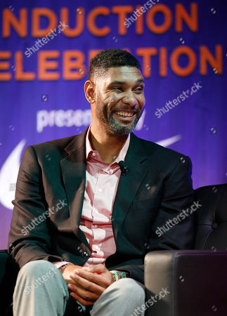 Former Wake Forest great, Tim Duncan, talks about his career during a National Collegiate Basketball Hall of Fame induction event, in Kansas City, Mo