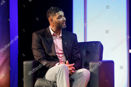 Stock Image of Former Wake Forest great, Tim Duncan, talks about his career during a National Collegiate Basketball Hall of Fame induction event, in Kansas City, Mo